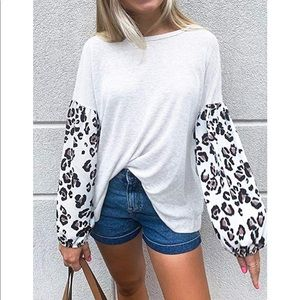 White Leopard Sleeve Waffle Knit Top